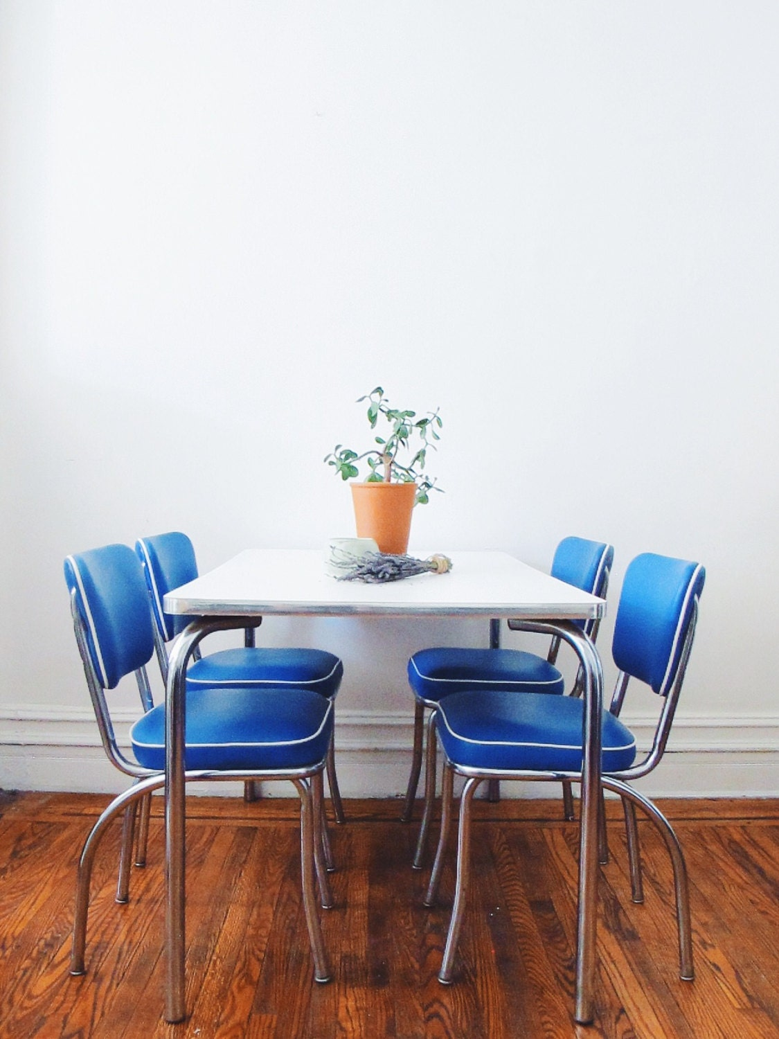 Mid Century Kitchen Chair Set Vintage Blue Chairs by