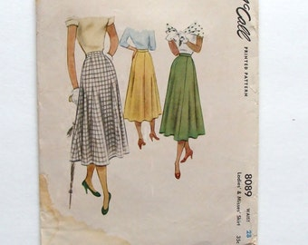 """Vintage 50's McCall Skirt Sewing Pattern #8089 - Size 28"""" Waist"""