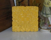 """1950s 60s signed Frankoma pottery mod yellow trivet with fleur de lis pattern, repaired, 6"""" x 6"""", vintage usa pottery"""