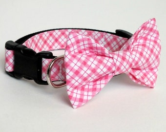 Diagonal Pink Checked Dog Collar Bow Tie set