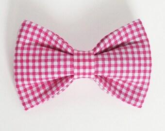 Mini Gingham Pink Dog bow tie, Cat bow tie, fabric bow tie for dog/cat collars, pet bow tie, collar bow tie, wedding bow tie