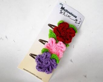 SALE Flower Hair Clip - Crochet Hair Accessory - Red, Yellow, Pink -  Daisy Girl Hair Clip - Spring Hair Accessories - Girl's Hair Clips