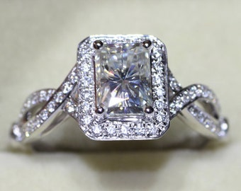 1.2 Ct. Radiant Cut VVS1 / G Lab-Created Diamond Engagement Ring + Free gift (Item# ER0063-01200514)