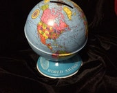 Vintage Advertising World Savings Globe Bank Tin Toy By Ohio Arts USA,Collectable World Savings Globe Coin Bank, Metal Globe Coin Piggy Bank