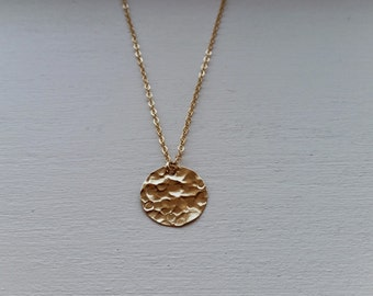 Disk Necklace, Initial Disk Necklace, Layered Disk Initial Necklace, Gold Hammered Disk Necklace, Gold Disk Necklace, Initial Necklace Gold