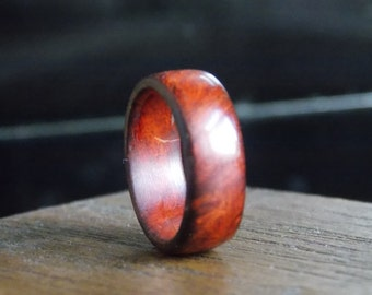 Woman's Exotic Amboyna Burl wood ring size 6
