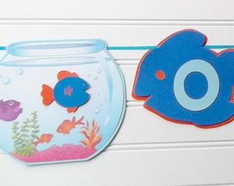 fish banner, goldfish banner, baby guppy banner, pool party banner, goldfish birthday, baby guppy birthday, pool party, aquarium birthday