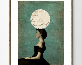 Balancing Perfection - Vintage Photo, Surreal Photography, Vintage Book Page, Mixed Media, Vintage Women, Geometric Art, Home Decor