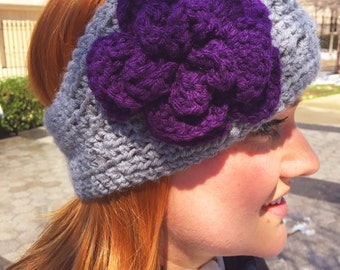 Crocheted Ear Warmer with Flower and Cross-Stitch Pattern 2