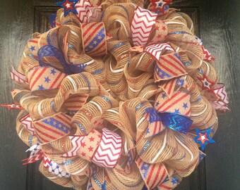 Patriotic Stars and Stripes Burlap Wreath