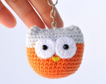 Owl keychain PDF crochet pattern accessories