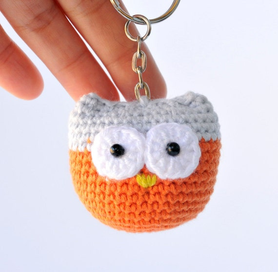 Crochet Patterns Keychain : Owl keychain PDF crochet pattern accessories by GoBunnyGo on Etsy