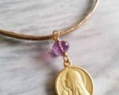 Bracelet - Mary of Magdala Amethyst Bangle - 18K Gold Vermeil