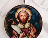 "St Simon Apostle Pendant with 20"" Sterling Silver Chain - 32mm"