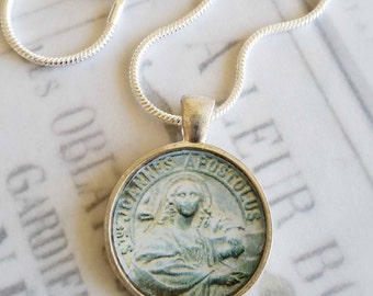 """St John Apostle Pendant with 20"""" Sterling Silver Chain - 28mm"""
