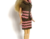 Crochet Barbie Doll Costume in Pink and Brown, OOAK Barbie Doll Clothes, Homemade Business Suit, Ready To Ship