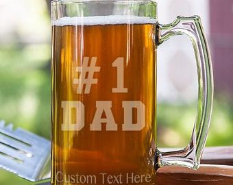 Number 1 Dad Typography Customizable Etched Glassware Stein Beer Mug Barware Gift