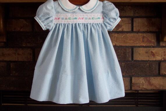 Infant Girl Blue Seersucker Float Dress ABC Dress with Peter