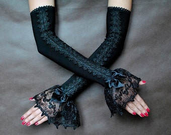 Elegant GOTHIC VAMPIRE Victorian Burlesque Evening Glamour long GLOVES, armwarmers, guipure, adornment,fingerless mittens,prom, black friday