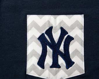 "Chevron pocket shirt with Yankees ""NY"" embroidery"