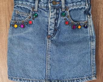Vintage 1980's Little Girls Denim Skirt with Jewels