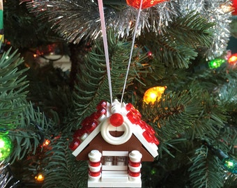 Gingerbread House ornament made with LEGO® parts / Christmas ornament / Holiday / Christmas tree / Christmas gift