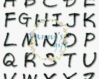 69 Black Letters Number Alphabet Vintage Digital Download Scrapbooking Clip Art a42