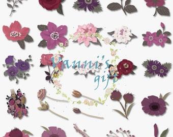 62 Flower Digital Download Scrapbooking Wedding Clip Art b36