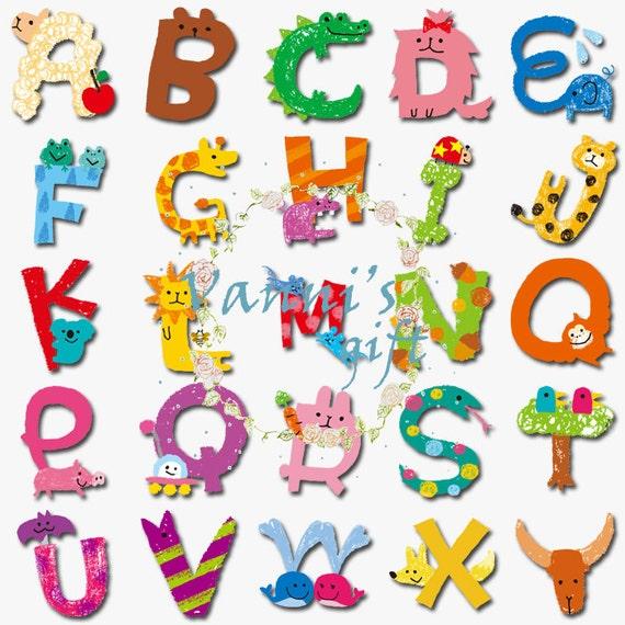 80 Animal Letters Number Alphabet Vintage Digital Download