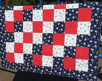 Patriotic Nursery Baby Quilt in Patchwork Red, White and Blue
