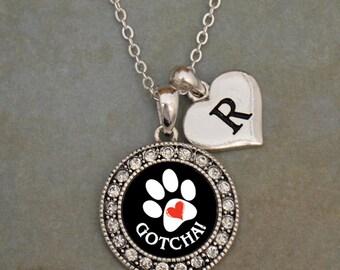 Custom Initial Gotcha Pet Adoption Necklace