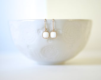 White and Gold Earrings | Bridesmaid Earrings | Wedding Jewelry