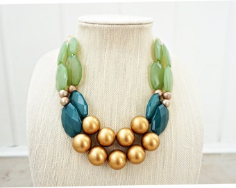 Green and Gold Faceted Gem Statement Necklace