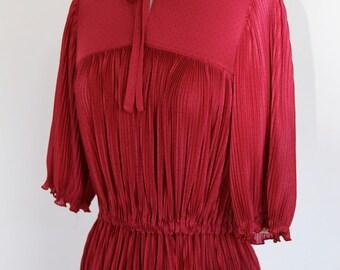 Vintage 1970s Red Pleat Dress