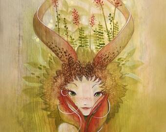 Woodland Fairy Nymph Art Print. Size A4.