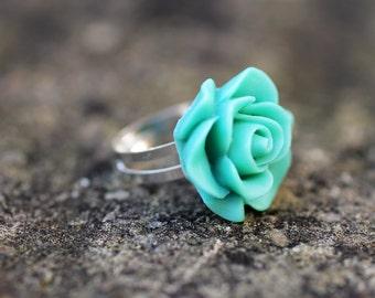 Turquoise Green Rose Flower Adjustable Ring