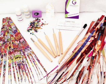 Paper Bead Kit DIY Jewelry Making Kits Paper with Bead Rollers Paper Strips Brush Varnish Glue Stringing Cord Beads DIY Beading Craft Kit #5