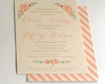Floral baby shower invitation-FREE SHIPPING or DIY printable