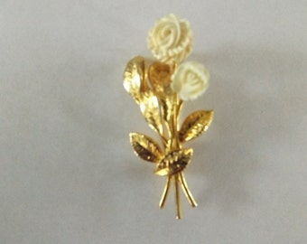 Vintage 1950's Carved Celluloid Bouquet Brooch