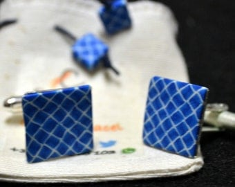 Blue Square Cufflinks 15 mm side