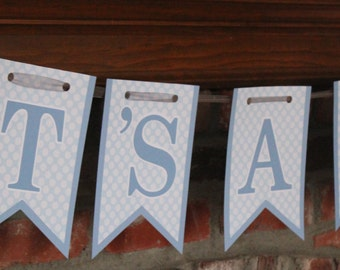 It's A Boy Baby Shower Banner It's A Boy Banner Light Blue and White Banner Blue Polka Dot Baby Shower Sweet Baby Boy Shower