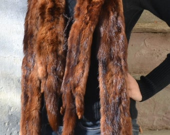 vintage mink scarf, vintage fur, vintage stuffed animals, real mink fur collar scarf, mink stole,brown,autumn,real mink scarf,etsyitaliateam