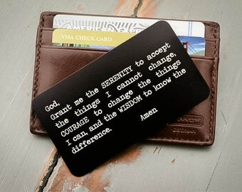 Engraved Wallet Insert, Personalized Wallet Card, Valentine's, Groom's Gift for Him, Sobriety Anniversary Gift, Serenity Prayer, Fathers Day
