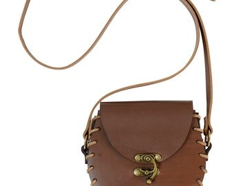 Leather Pouch with Shoulder Strap - Leather Satchel - #DK7121
