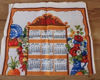 Vintage 1984 Tea Towel Wall Hanging Calendar, vintage tea towel, vintage calendar tea towel