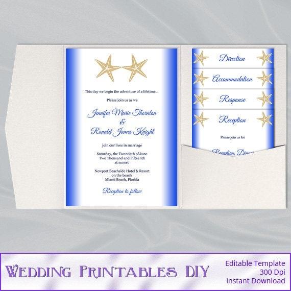 Pocket Wedding Invitation Set Diy Royal By WeddingPrintablesDiy