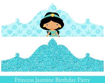 Princess Jasmine Crown, Printable Party Crown, Jasmine Crown, party hat, Jasmine Birthday
