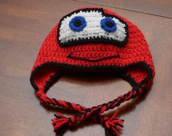 Crochet Lightening McQueen Ear-flap Hat
