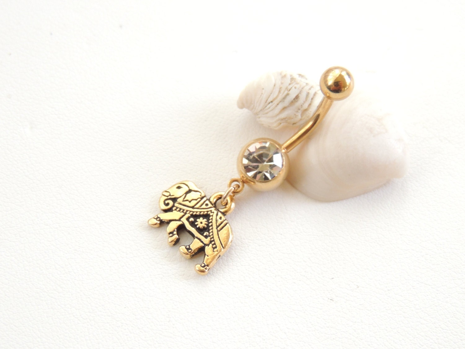 elephant belly button ring gold lucky elephant navel ring