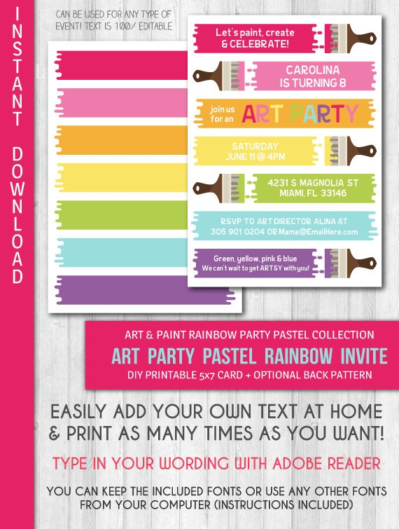 instant download art party invitation pastel by labellestudio
